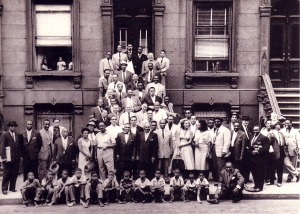 A Great Day in Harlem photo. Taken by Art Kane in 1958 .