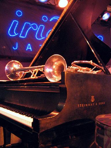 Freddie Hubbard's flugelhorn sitting on a Steinway piano at the jazz club Iridium