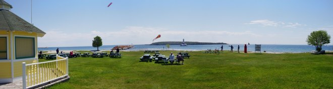 A panoramic view of Lake Huron from Mackinaw Island, Michigan