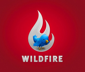 twitter bird sitting on wildfire logo