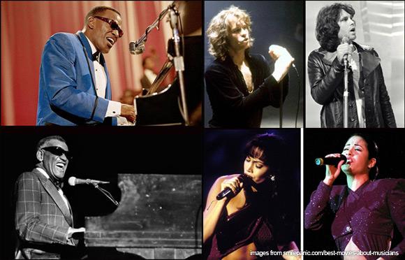 Jaime Foxx as Ray Charles, Jennifer Lopez as Selena, Val Kilmer as Jim Morrison