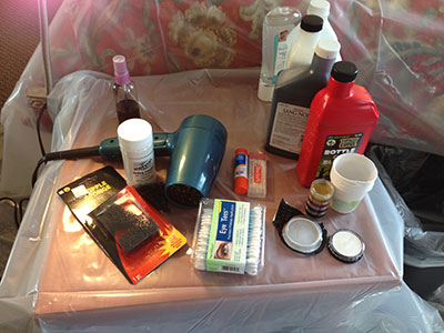 fake blood and other makeup tools