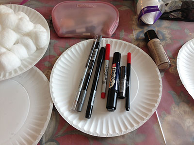 various markers used for makeup