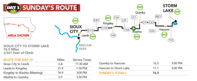 The route map for our first day: Sunday, July 19, 2015
