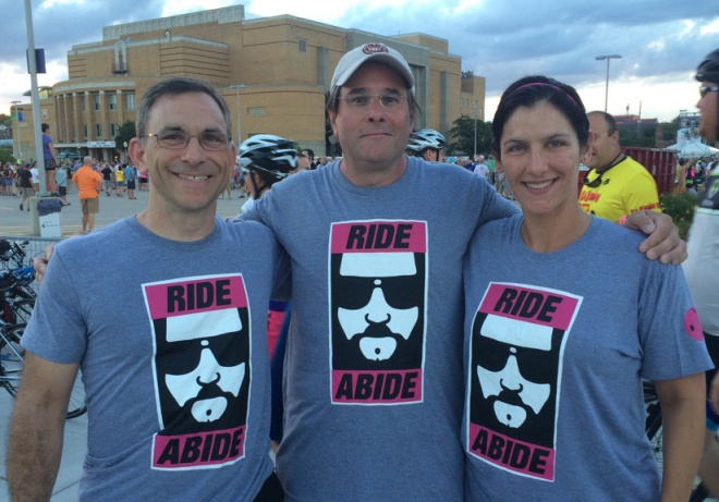 Team photo of Abiding Dudes the night before the ride. Saturday, July 18, 2015. Sioux City, IA